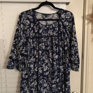 Lucky Brand Blue Floral Top 2x